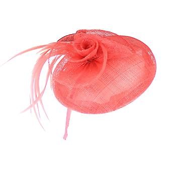 Coral Fascinator on Headband/ Clip-in for Weddings, Races and Occasions-5503