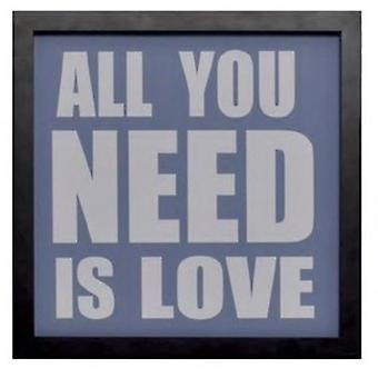Wellindal Box  All youu need is love  gray background 34x34x1,9 cm