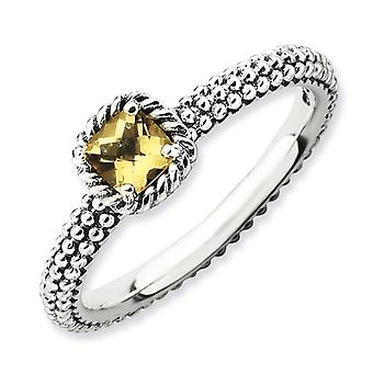 2.5mm Sterling Silver Prong set Antique finish Stackable Expressions Checker-cut Citrine Antiqued Ring - Ring Size: 5 to