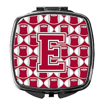 Letter E Football Crimson, grey and white Compact Mirror