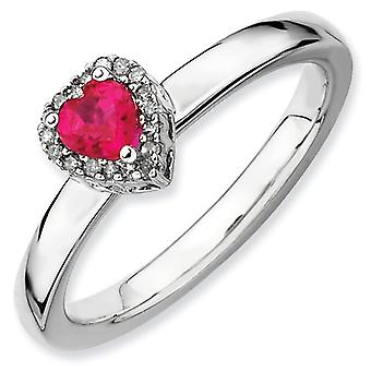 Sterling Silver Stackable Expressions Cr. Ruby Heart Diamond Ring - Ring Size: 5 to 10