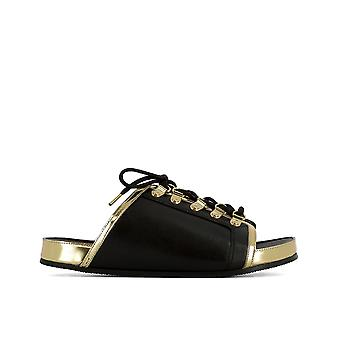 Balmain women's S7CPV0203051761 black/gold leather sandals