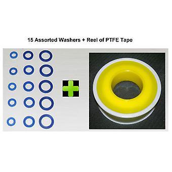 Rondelle di gomma PTFE nastro per lavatrice, doccia tubo più 15 x Mix Pack *