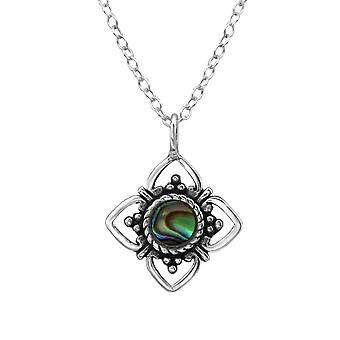 Flower - 925 Sterling Silver Jewelled Necklaces - W30858x