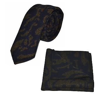 Luxury Arabic Navy Blue Pattern Tie & Pocket Square Set