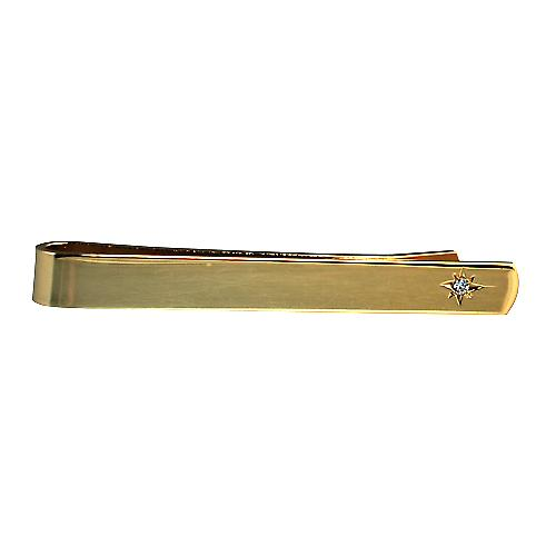 Hard Gold plated 6x55mm star set CZ Tie Slide