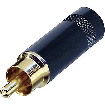 RCA connector Plug, straight Number of pins: 2 Black Rean AV NYS352BG 1 pc(s)