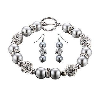Set Bracelet and earrings pearls silver, Crystal and Rhodium plate