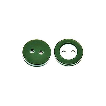 Packet 10 x Dark Green/White Resin 11mm Round 2-Holed Sew On Buttons HA14020