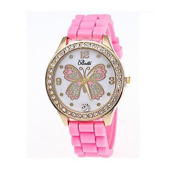 Schöne Gold Butterfly Uhr Liebe Zeit Funky Pink