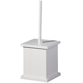 American Cottage - Wooden Holder Box And Toilet Brush - White