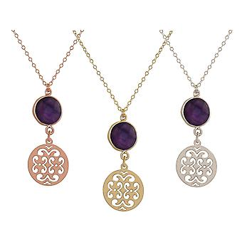 GEMSHINE mandala and Amethyst necklace. Pendant made of silver, gold plated or 45cm necklace. Made in Madrid, Spain. Delivered in an elegant gift case.