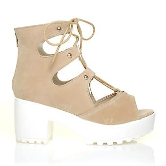NANCY Nude Suede Lace Up Peep Toe Chunky Sole Gladiator Sandals