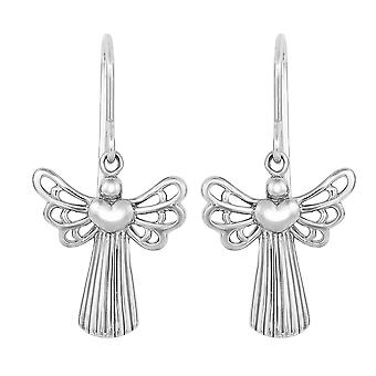 Sterling Silver Plated Open Wing Angel With Heart Dangle Earrings