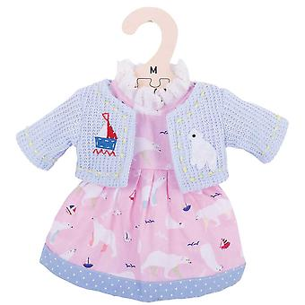 Bigjigs Toys Pink Polar Bear Rag Doll Dress and Cardigan for 34cm Soft Doll