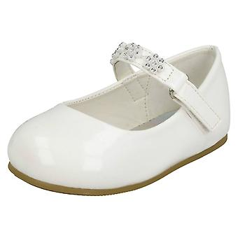 Girls Spot On Diamante Flower Strap Ballerinas H2487 - White Synthetic Patent - UK Size 8 - EU Size 25 - US Size 9
