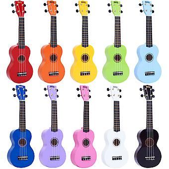 Mahalo 2511 MR1 Rainbow Soprano Ukulele with Gig Bag - Available in Black, Purple, Red, Pink, Light Blue, Orange, Yellow, Green, White, Dark Blue