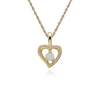 Gemondo ct 9 amarillo oro Opal sola piedra corazón colgante de 45cm cadena
