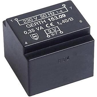 PCB mount transformer 1 x 230 V 1 x 9 V AC 0.35 VA 38 mA PTE200901 Gerth