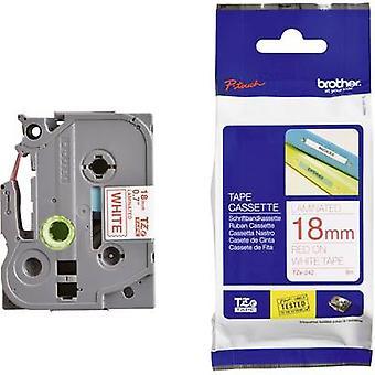 Labelling tape Brother TZe, TZ TZe-242 Tape colour: White Font colour:Red 18 mm 8 m