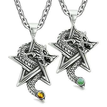 Courage Dragons Star Pentacle Amulet Love Couples or Best Friends Tiger Eye Green Quartz Necklaces