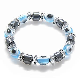 Onde øyet og beskyttelse magnetiske himmelblå hematitt armbånd