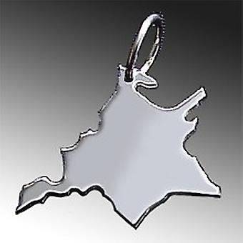 Trailer map WEST PRUSSIA in solid 925 Silver Pendant