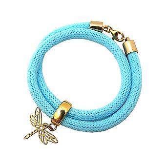 Bracelet bleu - bracelet - - 925 argent - plaqué or - libellule-