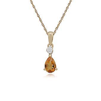 Gemondo 9ct ct de 0,37 or jaune Citrine & diamant poire pendentif sur chaîne de 45cm