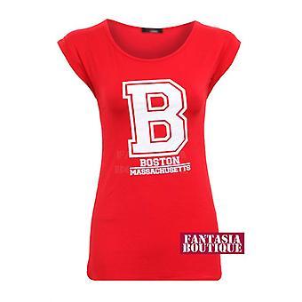 New Ladies Cap Sleeve USA College Boston Print Blouse Women's T-Shirt
