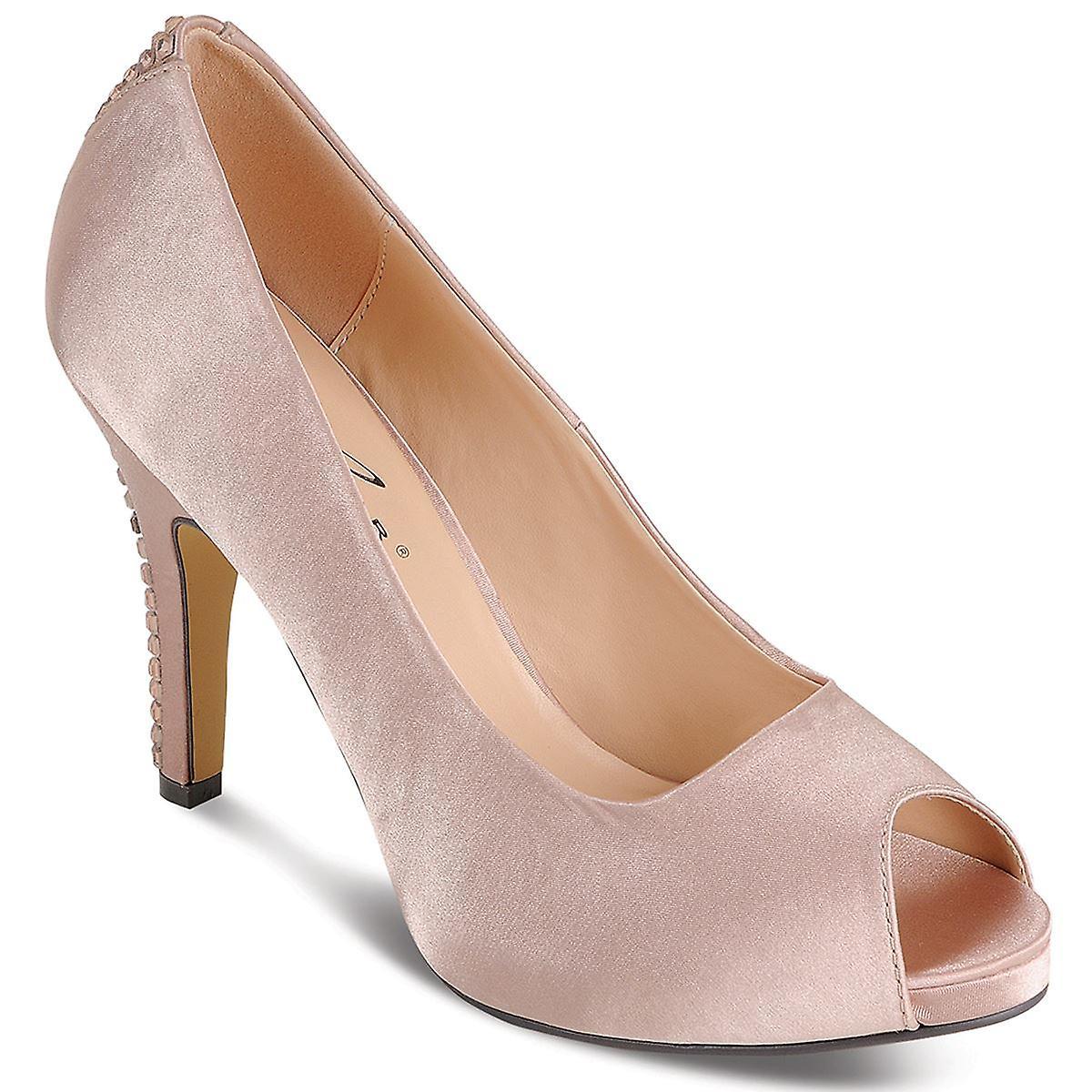 Ladies Smart PeepToe Diamantie Strip Satin Womens Heels Clutch Purse Bag Set