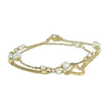 Skagen ladies bracelet double wrap gold beads JBSG035