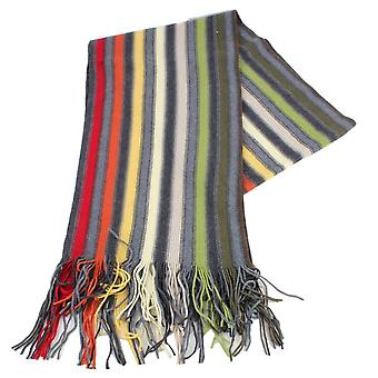 Bassin and Brown Harris Stripe Wool Scarf - Grey/Beige/Red