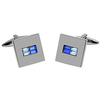 David Van Hagen Shiny Square Two Tone Crystal Centre Cufflinks - Silver/Blue