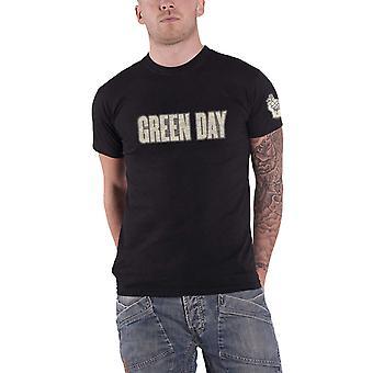Green Day T Shirt band Logo & Grenade applique new Official Mens Black