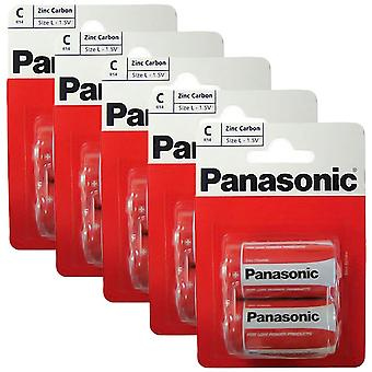 10 x Panasonic R14RZ-2BP C Size Batteries