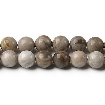 Strand 60+ Grey/Mixed Silver Leaf Jasper 6mm Plain Round Beads CB44446-2