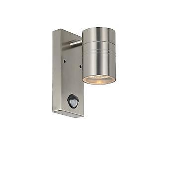 Lucide ARNE Stainless Steel GU10 Wall Light With Motion Detector Sensor