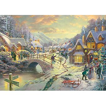 Gibsons Kinkade Snowfall At Sundown Jigsaw Puzzle (1000 pieces)