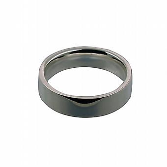 Platinum 6mm plain flat Court shaped Wedding Ring Size Q
