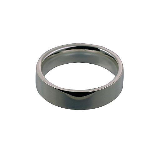 Platinum 6mm plain flat Court shaped Wedding Ring Size Z