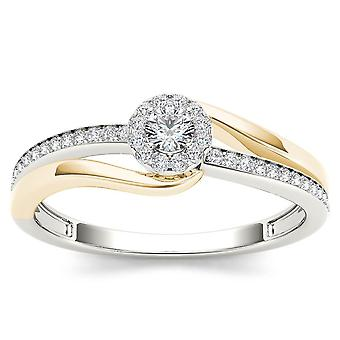 IGI Certified 10k Yellow Two-Tone White Gold 0.25Ct Diamond Halo Engagement Ring