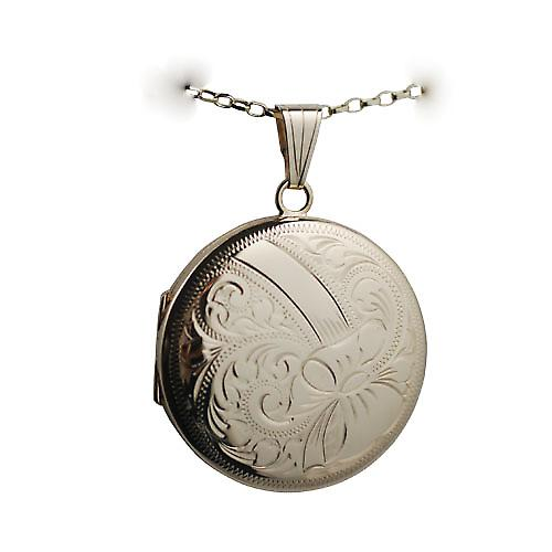 9ct Gold 29mm hand engraved round Locket with a belcher Chain 16 inches Only Suitable for Children
