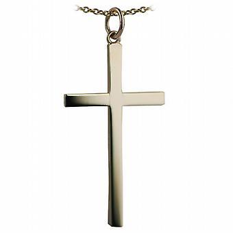 9ct Złota 33x20mm zwykły bryły krzyż z kablem łańcucha 16 cali nadaje się tylko dla dzieci