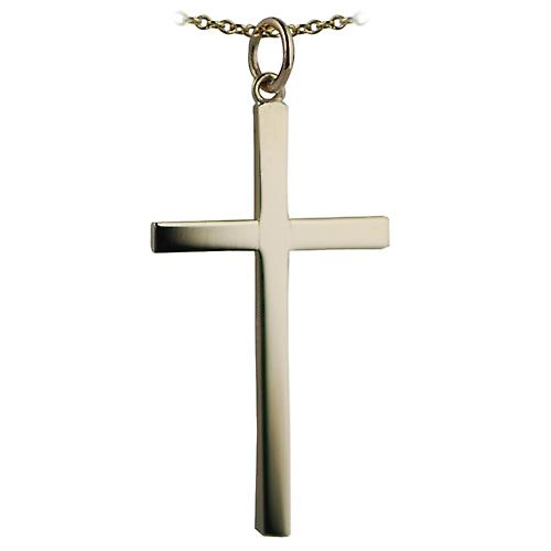 9ct Gold 33x20mm plain solid block Cross with a cable Chain 18 inches