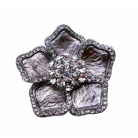 Sparkling Cubic Zircon Bridal Silver Brooch Pin