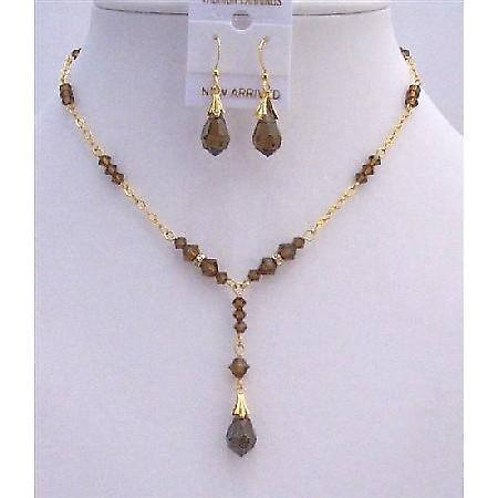 Golden Bridal Necklace Set Swarovski Smoked Topaz Crystals & Teardrop