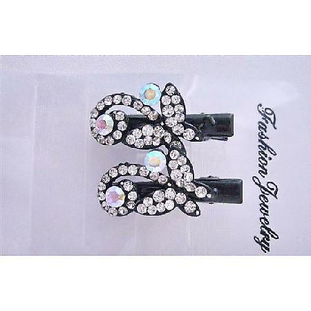 Butterfly Hair Clamp Clip Fully Embedded Simulated Diamond Pair Clip