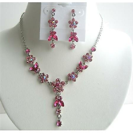 Rose Pink & Fuchsia Crystals Flower Necklace Set w/ Dangling Flower