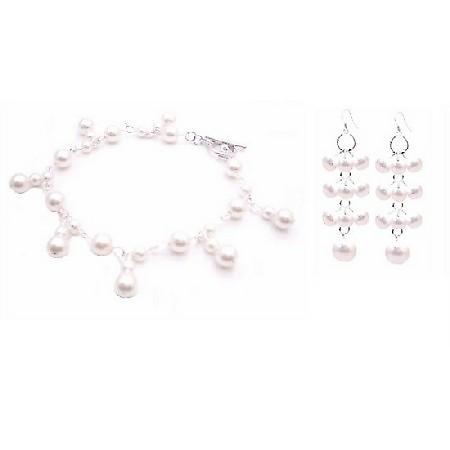 Bracelet & Earrings White Pearls Set Wedding Jewelry Very Sleek Set